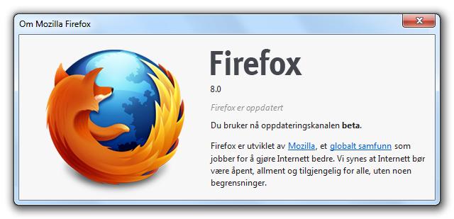 Om Firefox 8